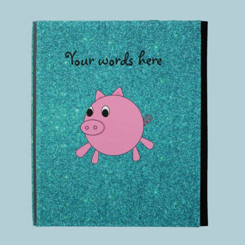 Pink pig faux turquoise glitter iPad folio covers