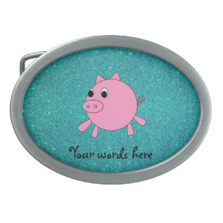 Pink pig faux turquoise glitter oval belt buckle