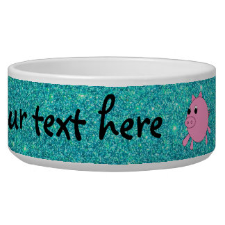 Pink pig faux turquoise glitter pet bowl
