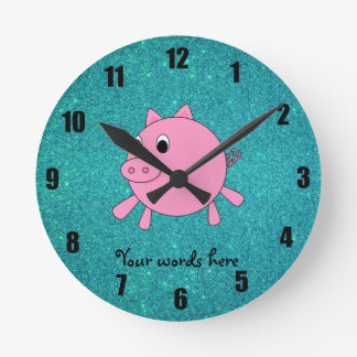Pink pig faux turquoise glitter round clock