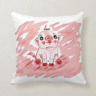 Pink pig front and back throw pillow