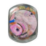 Pink Pig Glass Candy Jar
