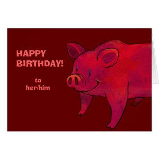 PInk Pig Greeting Card(customizable)