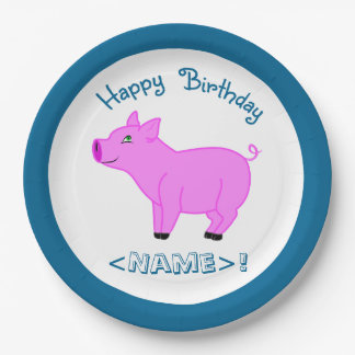Pink Pig Happy Birthday Paper Plates 9 Inch Paper Plate