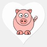 Pink Pig Heart Sticker
