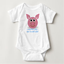 Pink Pig - I'm Still Cute design Baby Bodysuit