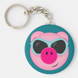Pink Pig in Sunglasses Keychain