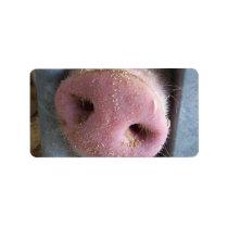 Pink Pig nose close up photograph Label
