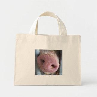 Pink Pig nose close up photograph Mini Tote Bag
