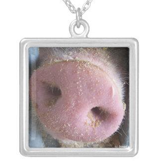 Pink Pig nose close up photograph Square Pendant Necklace