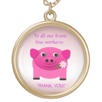 Pink Pig Offers Flower to Front Line Workers Gold Plated Necklace