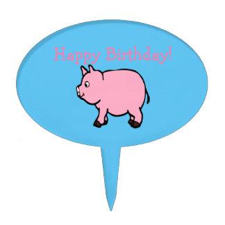 Pink pig, Oval Cakepick