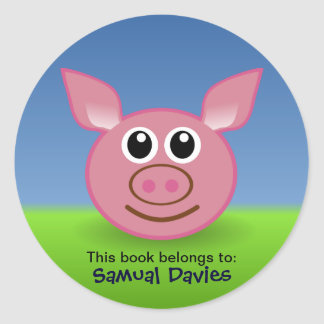 Pink Pig Personalised Name Labels Round Sticker