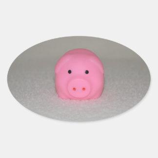 Pink Pig Piggy Oval Sticker