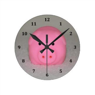 Pink Pig Piggy Round Clock