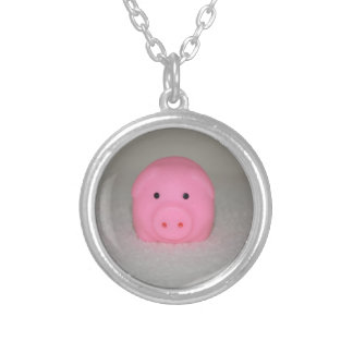 Pink Pig Piggy Silver Plated Necklace