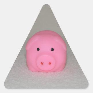 Pink Pig Piggy Triangle Sticker