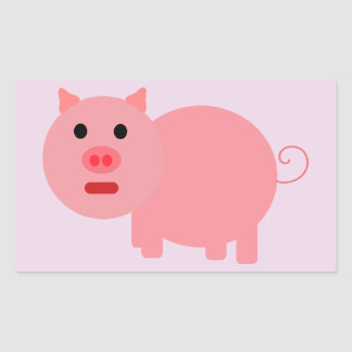 PINK PIG Rectangle Stickers