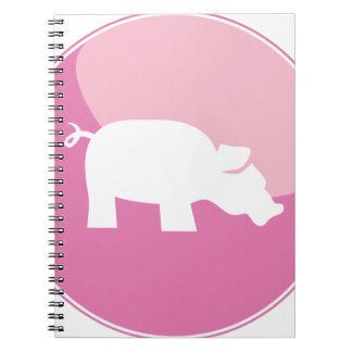 Pink Pig Round Icon Note Books