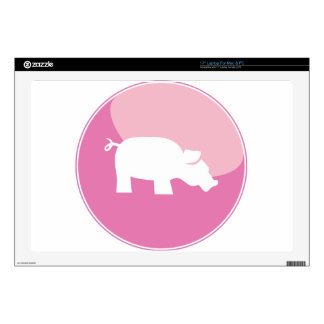 Pink Pig Round Icon Decal For Laptop