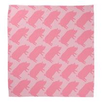 Pink Pig Silhouettes Pattern Bandana