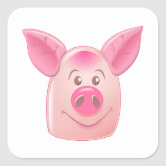 Pink Pig Square Sticker