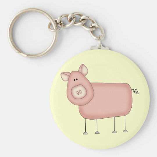 Pink Pig T-shirts and Gifts Keychain