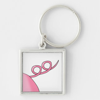 Pink Pig Tail Keychain
