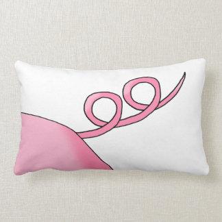 Pink Pig Tail Throw Pillows