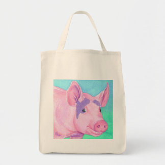 """Pink Pig Tote Bag - """"This Little Piggy"""""""