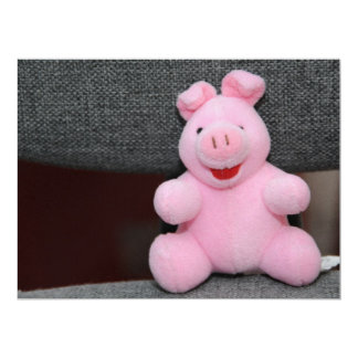 Pink pig toy 6.5x8.75 paper invitation card