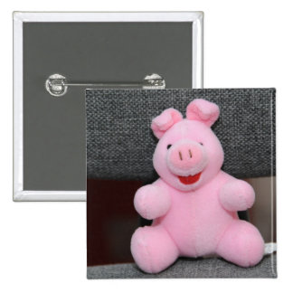 Pink pig toy pinback buttons