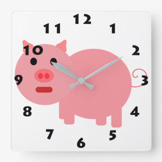 PINK PIG (WITH BLACK NUMBERS) Wall Clock