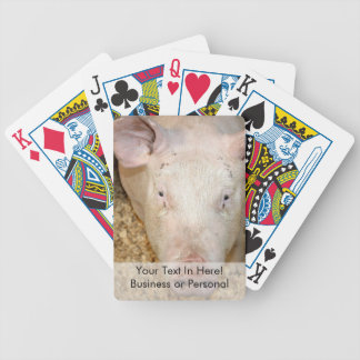 Pink pig with ear tag cute piggie picture poker cards