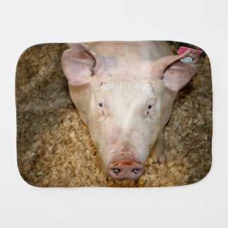Pink pig with ear tag cute piggie picture burp cloth