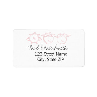 Pink Piggies Flying Custom Address Label