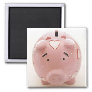 Pink Piggy Bank 2 Inch Square Magnet
