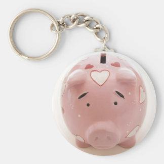 Pink Piggy Bank Basic Round Button Keychain
