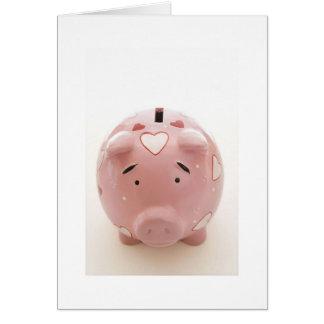 Pink Piggy Bank Card