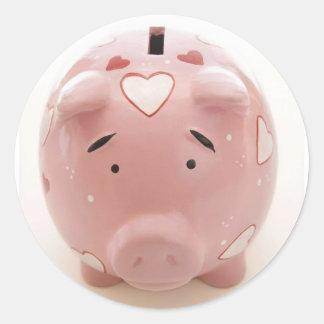 Pink Piggy Bank Classic Round Sticker