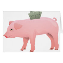 Pink Piggy Bank Greeting Cards