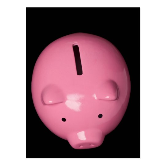 Pink piggy bank postcard