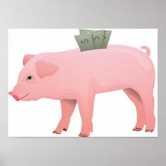 Pink Piggy Bank Poster