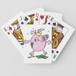 Pink Piggy Bank With Money Playing Cards
