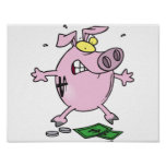 Pink Piggy Bank With Money Poster