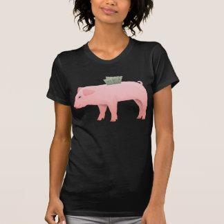 Pink Piggy Bank Womens T-Shirt