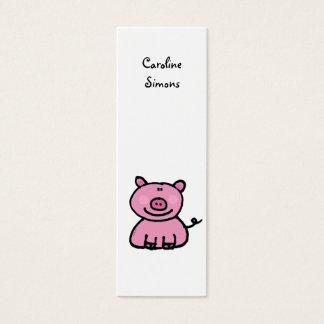 Pink piggy bookmark mini business card