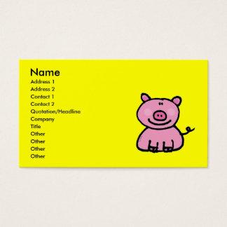 Pink piggy business card