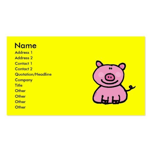 Pink piggy business card templates