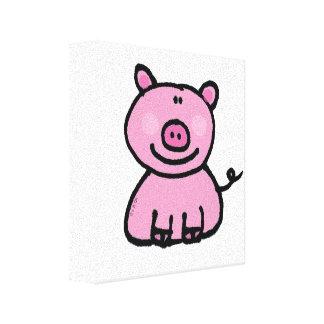 pink piggy canvas print